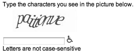 Figure 1: Example of a commercial captcha system (Google, 2009)