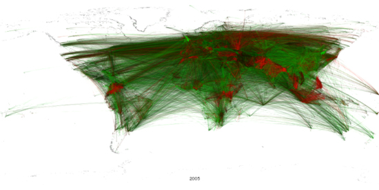 Figure 13: Global geocoded tone of all Summary of World Broadcasts content, 2005