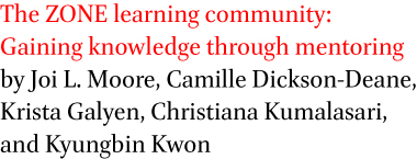 The ZONE learning community: Gaining knowledge through mentoring by Joi L. Moore, Camille Dickson-Deane, Krista Galyen, Christiana Kumalasari, and Kyungbin Kwon