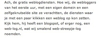 Figure 5: Early Dutch blogger about the rise of free blog platforms