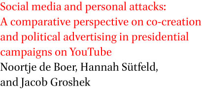 Social media and personal attacks: A comparative perspective on co-creation and political advertising in presidential campaigns on YouTube by Noortje de Boer, Hannah Sutfeld, and Jacob Groshek