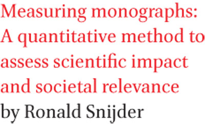Measuring monographs: A quantitative method to assess scientific impact and societal relevance by Ronald Snijder