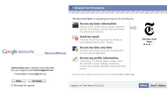 Contrast between Google (left) and Facebook (right) request for permission