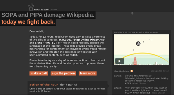 Reddit.com blacked out in protest against SOPA/PIPA, 18 January 2012