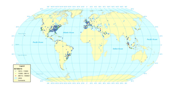 Most retweeted cities (georeferenced Twitter Decahose tweets 23 October 2012 to 30 November 2012)