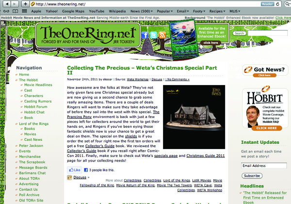 Homepage of TheOneRing.net