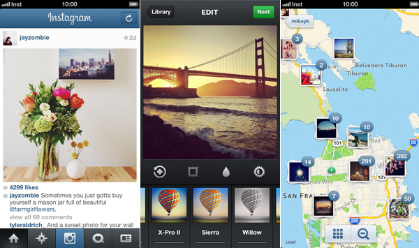 Left to right: Instagram's timeline, filters page, and photo map