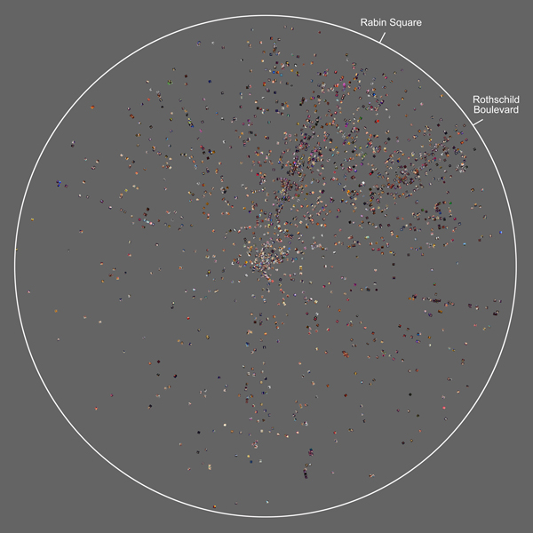 Radial plot visualization showing a subset of photos taken by Instagram users in Tel Aviv between 4pm 25 April and 2am 26 April 2012