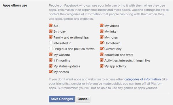 Facebook friends sharing through apps, 2014