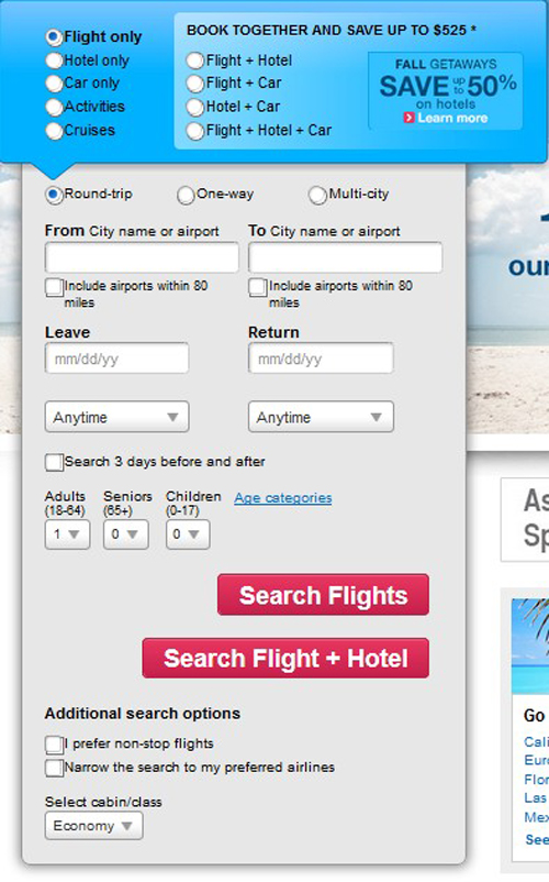 Screenshot of the flight search form