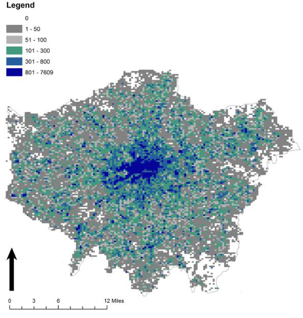Tweet density map of London