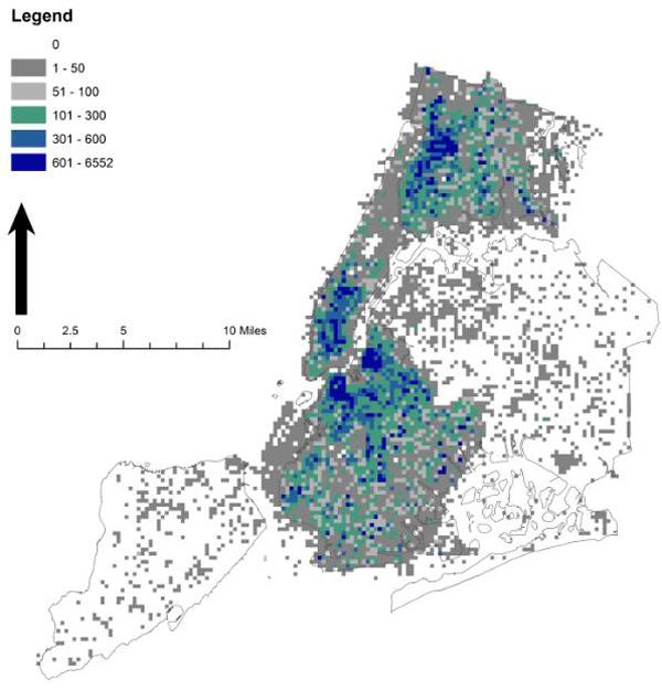 Tweet density map of New York City