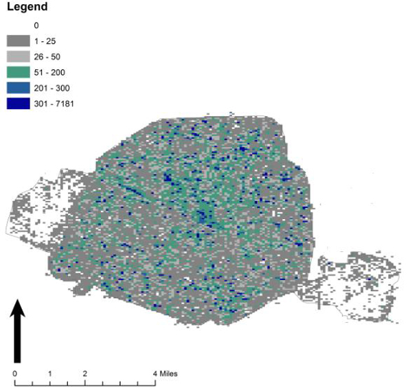 Tweet density map of Paris