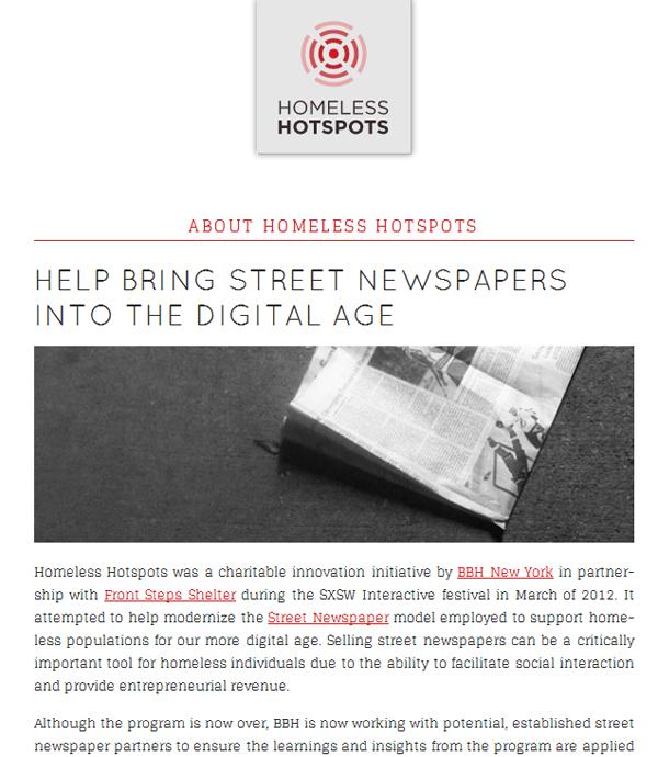 Screen capture of Homeless Hotspots Project Web site