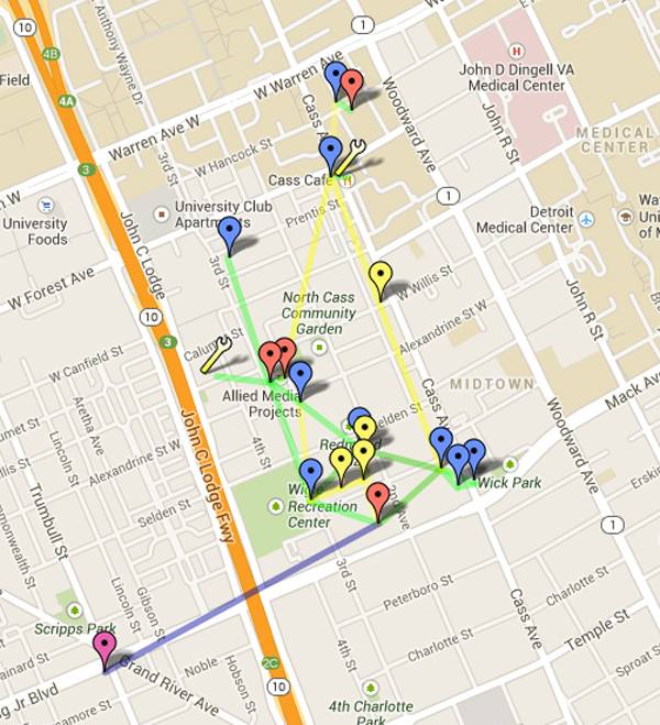 Map of the Cass Corridor Testbed