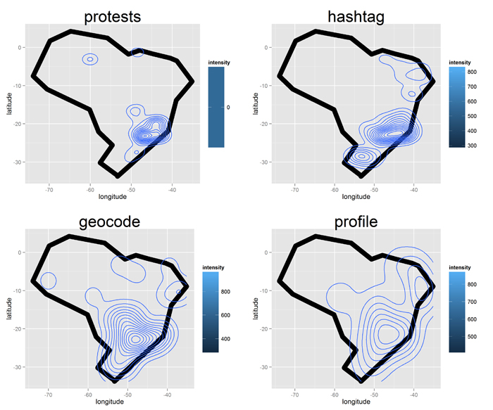 Central point of diffusion of political protests in Brazil and related Twitter messages based on geocode, hashtag, and user profile