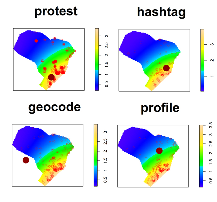 Centroid of the activity streams of protestors (onsite), geocode, hashtag, and profile messages (online)