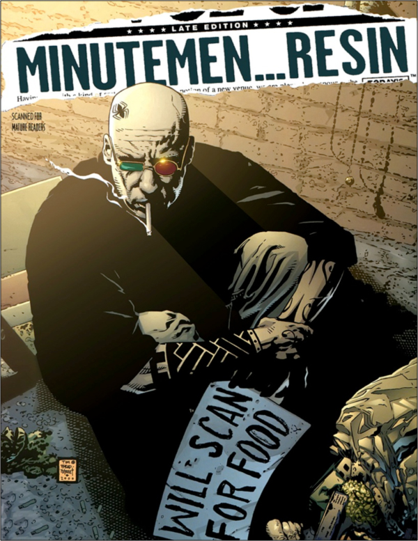This scanner tag, appended to Dan the Unharmable (2012) from Avatar Press, emulates the cover of Transmetropolitan #38 (2000)