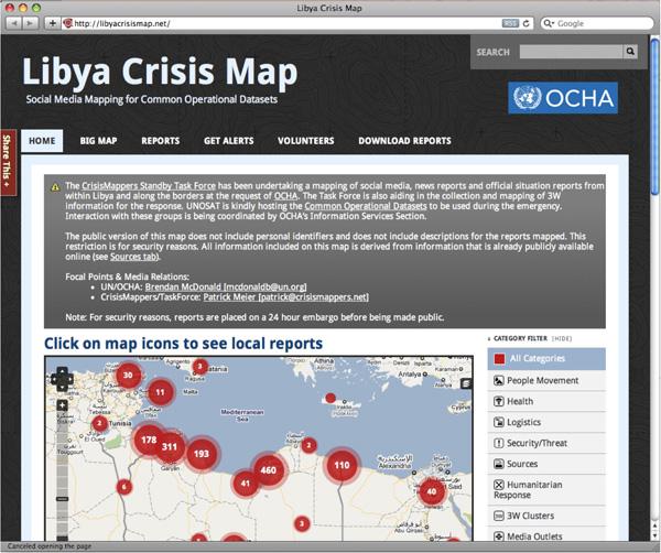 The Libya Crisis Map on the Ushahidi mapping platform