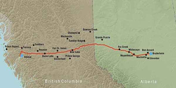 Enbridge's proposed route for the Northern Gateway Pipeline project
