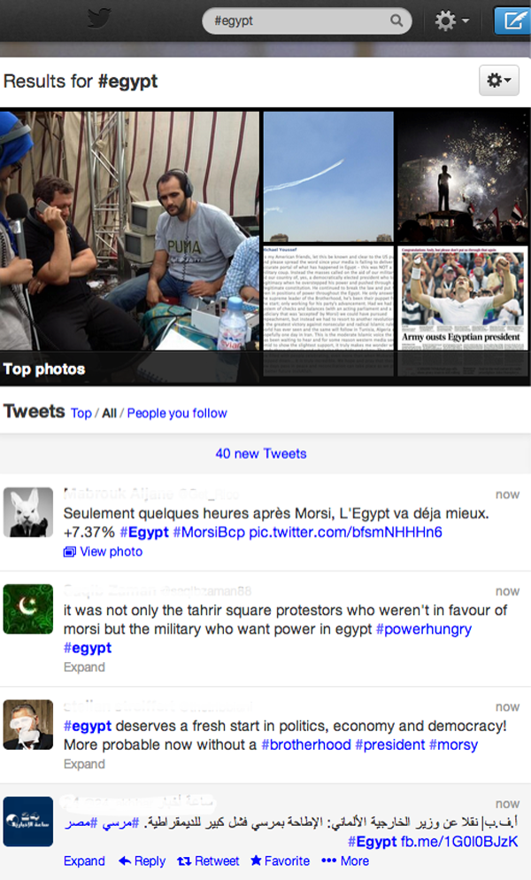It became impossible to follow all of the tweets posted to #egypt during events in Egypt in July 2013