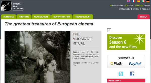 Screenshot of the Europa Film Treasures Web site before it vanished