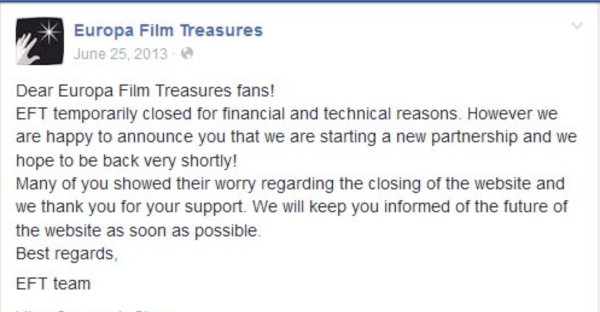 Announcement from the EFT Facebook page regarding the site's temporary closure in June 2013