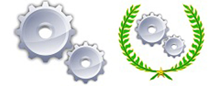 Unofficial Wikipedia logos for bots and automated tools (left) and the Bot Approval Group (right)