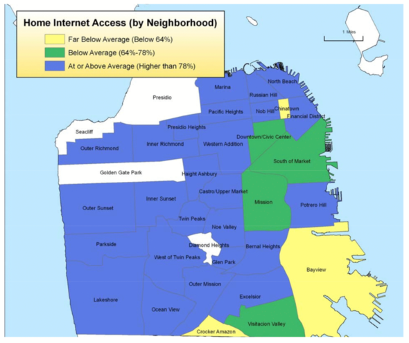 Map of home Internet access in San Francisco by neighborhood