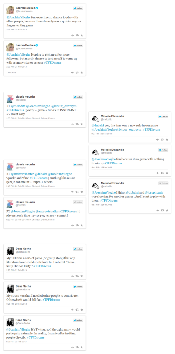 Examples of participants' reflections and descriptions related to their interactive or collaborative contributions to the Twitter Fiction Festival referred to in terms of a game