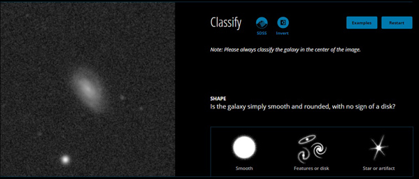The GalaxyZoo interface