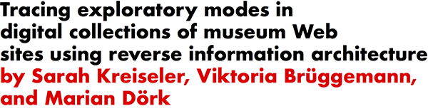 Tracing exploratory modes in digital collections of museum Web sites using reverse information architecture by Sarah Kreiseler, Viktoria Bruggemann, and Marian Dork