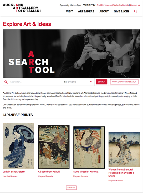 More and more museum Web sites feature an exploratory mode of access into their digital collections as in this example from the Auckland Art Gallery
