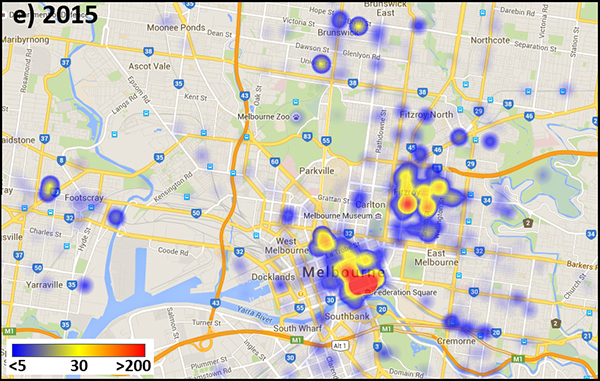 Image density heat map of Instagram media tagged with #MelbourneStreetArt, 2015