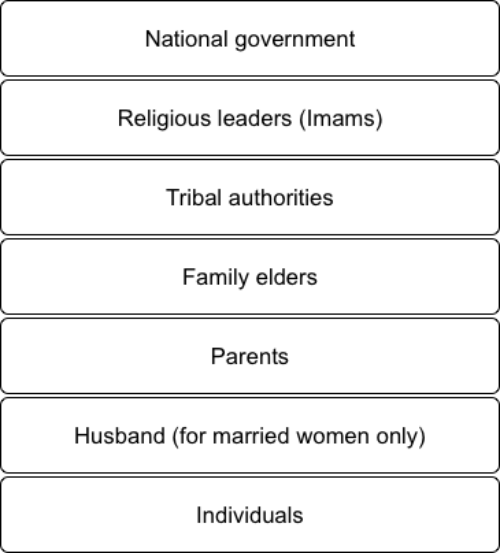 Hierarchy of power holders in Saudi society