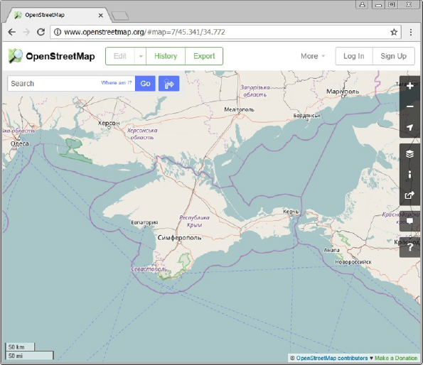 Crimean peninsula surrounded by boundaries in the main map at openstreetmap.org