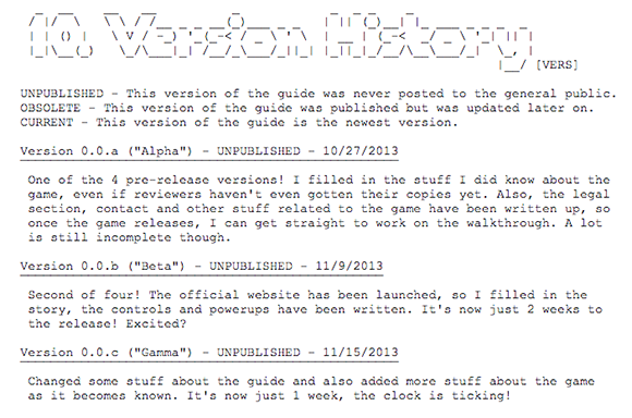 An excerpt from the version history of ABXInferno's guide to Super Mario 3D World