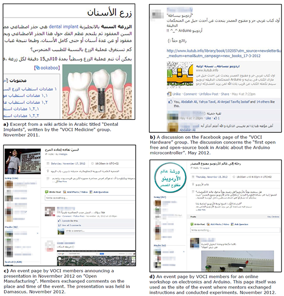 Screenshots of various uses of online platforms by VOCI members