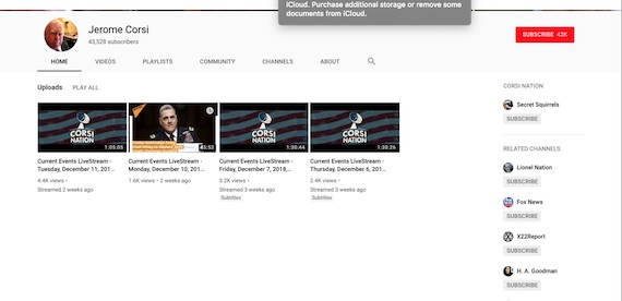 Screenshot taken on 31 December 2018 of Jerome Corsi YouTube homepage
