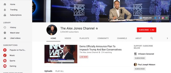 Screenshot taken on 6 May 2018 of the Alex Jones Channel on YouTube