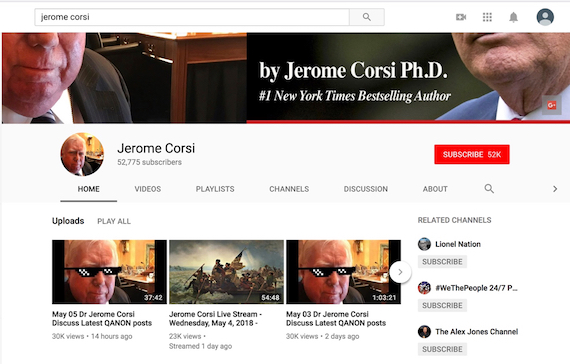 Screenshot taken on 6 May 2018 of Jerome Corsi YouTube homepage