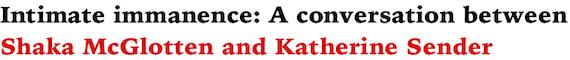 Intimate immanence: A conversation between Shaka McGlotten and Katherine Sender by Shaka McGlotten and Katherine Sender