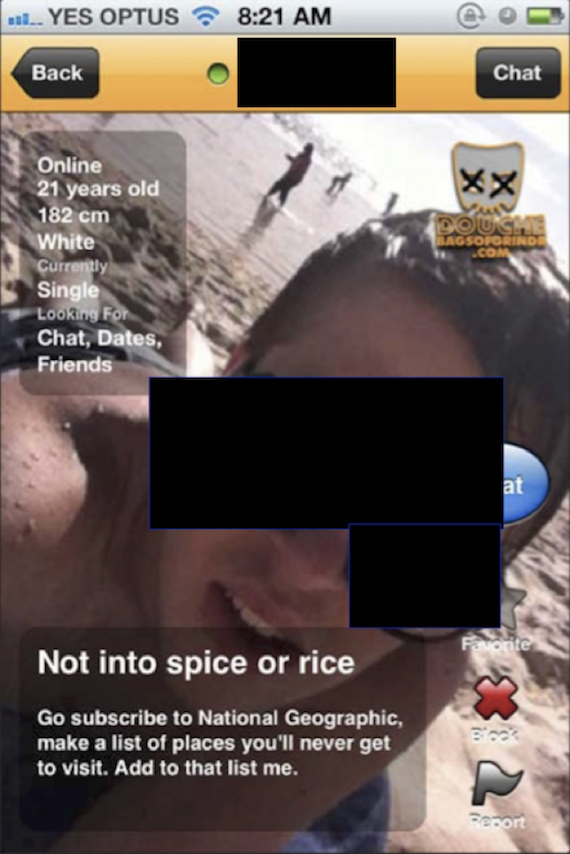 Screenshot from gay dating app Grindr displaying a profile that using racist language, posted on Web site Douchebags of Grindr