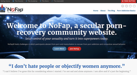 NoFap homepage, targeting people recovering from addiction to online pornography and masturbation