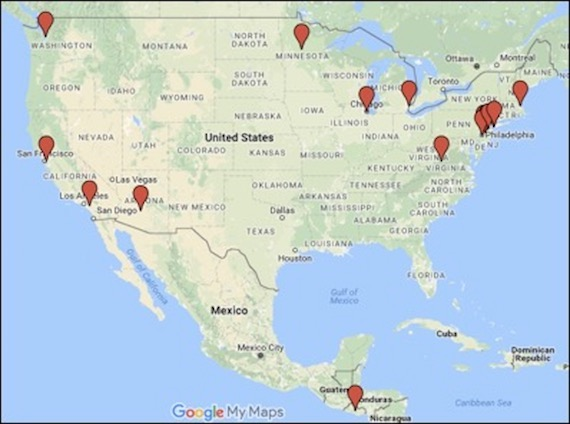 Map of participant locations