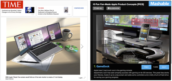 Two curated slideshows of different design fan fictions from established media outlets