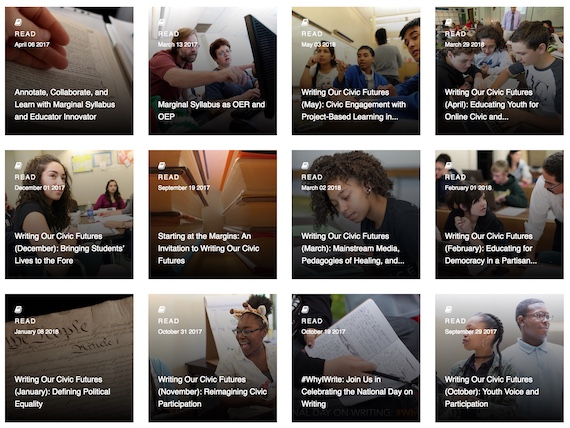 Selection of Marginal Syllabus conversations and resources featured on the National Writing Project's Educator Innovator Web site