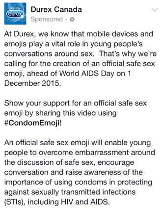 Durex petition for a #CondomEmoji on Facebook