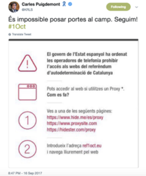 Tweet by Catalan President Carles Puigdemont sharing proxy addresses