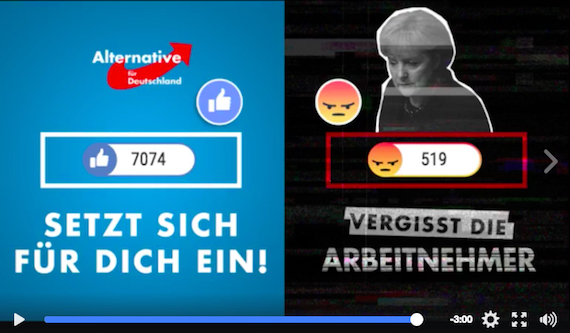 Facebook Live video posted by AfD on its public page in which the far-right political party incites its audience to press Angry against Merkel